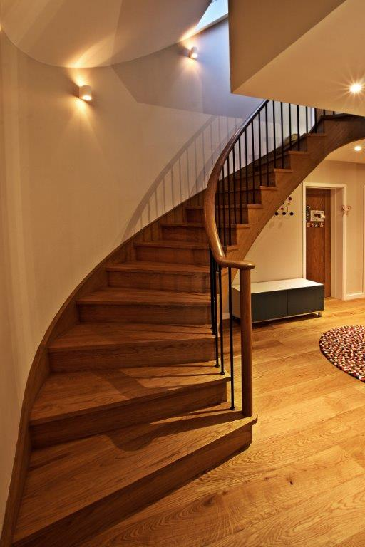 Curved Hardwood cut string stairs