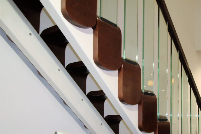 modern stairs with glass balustrade