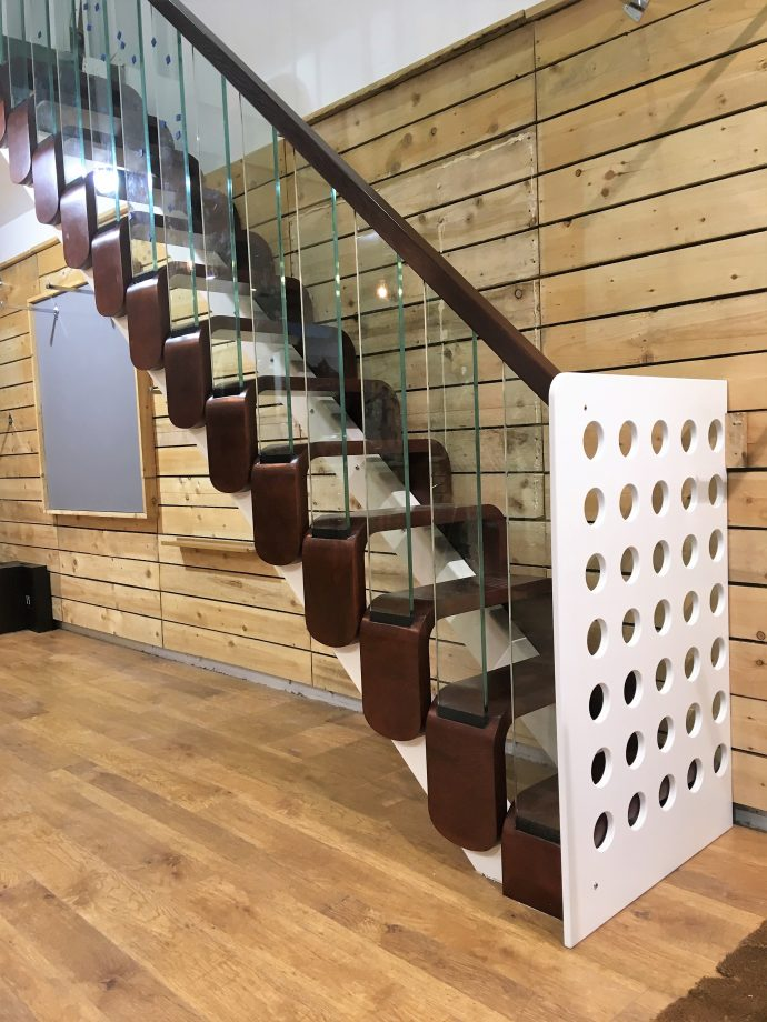 modern modular steels with stair gate