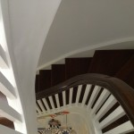 stained oak curved stairs